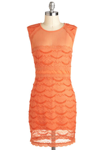 Papaya En La Playa Dress by Ladakh - Orange, Lace, Party, Sheath / Shift, Sleeveless, Girls Night Out, Short, Solid, Exposed zipper, Scallops, Neon