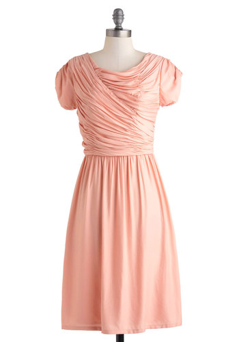 Spring Gathering Dress - Exclusives, Pink, Solid, Ruching, Daytime Party, A-line, Scoop, Wedding, Party, Vintage Inspired, 50s, Pastel, Short Sleeves, Long, Summer