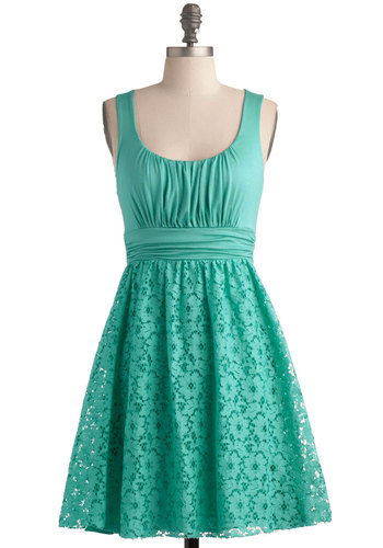Peppermint Iced Tea Dress - Green, Solid, Lace, Ruching, Daytime Party, Tank top (2 thick straps), A-line, Mint, Mid-length, Pastel, Summer