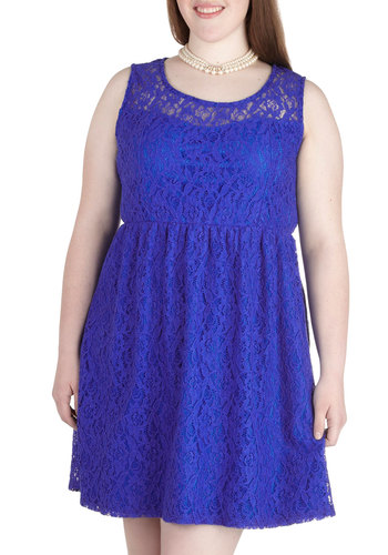Dainty Dally Dress in Blue - Plus Size - Blue, Solid, Lace, Party, A-line, Tank top (2 thick straps), Scoop, Wedding, Bridesmaid, Sheer, Daytime Party, Summer, Exclusives