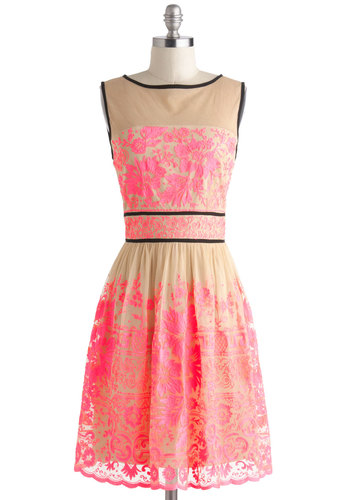 Vivid Dreamer Dress - Tan, Pink, Black, Floral, Embroidery, Lace, Party, A-line, Tank top (2 thick straps), Wedding, Cocktail, Luxe, Statement, Mid-length, Graduation, Neon, Sheer