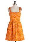 Clustery Day Dress by Tulle Clothing - Orange, Multi, Bows, Buttons, Pockets, Casual, A-line, Tank top (2 thick straps), Mid-length, Cotton, Floral, Summer