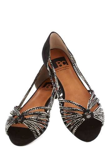 Cityscapes Sandal by BC Shoes - Black, White, Print, Strappy, Peep Toe, Flat, Casual, Daytime Party, Summer