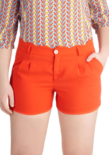 Poppy Up Video Shorts - Red, Orange, Solid, Pockets, Scallops, Casual, Spring, Pleats