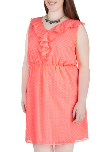 I Dream Of Bellini Dress in Plus Size - Coral, Ruffles, Party, Sleeveless, V Neck, Polka Dots, Daytime Party, A-line, Spring, Summer, Exclusives