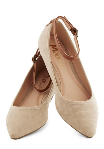 Baker's Dozen Flat in Wheat - Tan, Solid, Flat, Faux Leather, Work, Daytime Party
