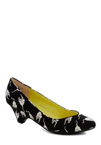 Stand in Awe Heel in Feline by BC Footwear - Black, White, Print with Animals, Quirky, Variation, Mid, Cats