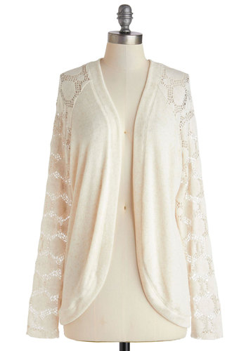 Lacy Day Off Cardigan - Mid-length, Cream, Solid, Crochet, Casual, Long Sleeve, Sheer, White, Long Sleeve