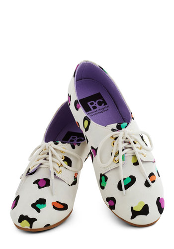 Cheetah Code Flat by BC Shoes - White, Multi, Animal Print, Flat, Casual, Lace Up