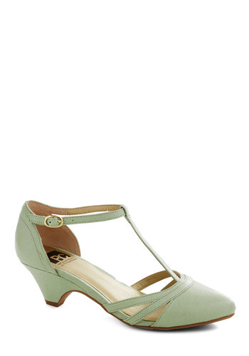 Just Prance Heel in Honeydew by BC Shoes - Mint, Solid, Cutout, Vintage Inspired, 20s, 30s, Mid, Leather, Wedding, Party, Bridesmaid, Pastel, Spring, Variation