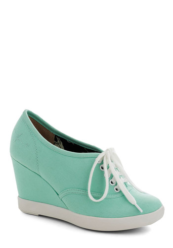 Slice of Lively Wedge in Aqua by BC Footwear - Blue, Solid, Wedge, Lace Up, Mid, White, Casual, Pastel, Variation