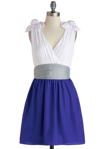 Jazz Flute to Boot Dress - Mid-length, Blue, Grey, White, Flower, Studs, Party, A-line, Sleeveless, V Neck, Spring, Exclusives