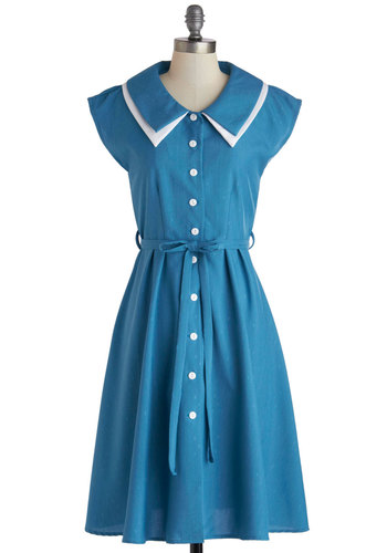 Journey to the Mast Dress - Blue, White, Buttons, Shirt Dress, Long, Belted, Casual, Cap Sleeves, Collared, Solid, Vintage Inspired, 40s, 50s