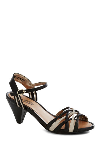 Bound to Happen Heel by Seychelles - Black, White, Solid, Woven, Low, Peep Toe, Slingback, Strappy, Leather, Wedding, Party, Bridesmaid, Variation