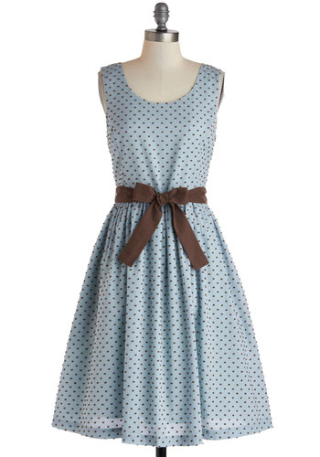 Double or Muffin Dress by Knitted Dove - Buttons, Pockets, Belted, Casual, Blue, Brown, Polka Dots, A-line, Sleeveless, Scoop, Vintage Inspired, Spring, Mid-length
