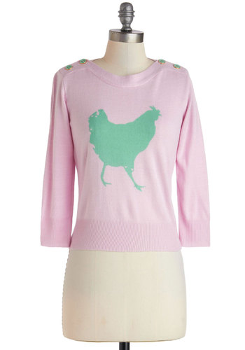 Hen out of Ten Sweater - Short, Pink, Green, Print with Animals, Buttons, Knitted, Long Sleeve, Casual, Pastel, Quirky, Cropped, Crew