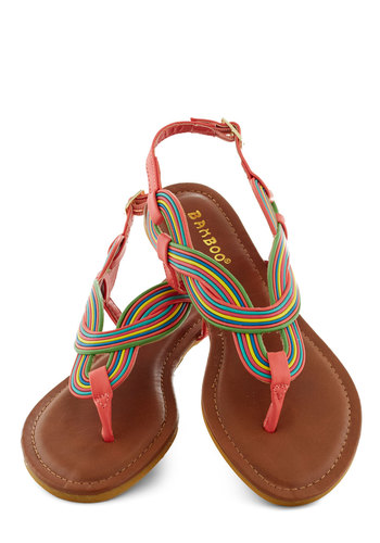 Parade Route Sandal - Coral, Multi, Braided, Beach/Resort, Summer, Flat, Faux Leather