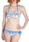 Dive On In Two Piece - Blue, Multi, Stripes, Floral, Ruffles, Beach/Resort, Halter, Summer, White, International Designer