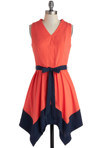 Apartment Art Showing Dress - Short, Coral, Blue, Belted, Party, A-line, Sleeveless, V Neck, Summer