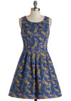 Country Fair Dress - Mid-length, Cotton, Blue, Multi, A-line, Sleeveless, Scoop, Paisley, Exposed zipper, Daytime Party