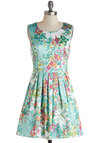 Silky Simplicity Dress - Short, Mint, Multi, Floral, Pleats, Daytime Party, A-line, Sleeveless, Scoop, Spring, Summer
