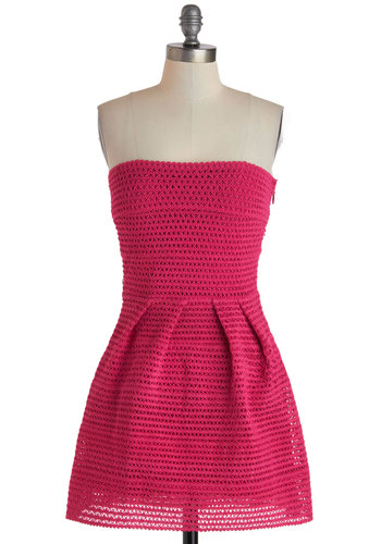 Take a Closer Loop Dress - Short, Pink, Solid, Party, Strapless, Girls Night Out, A-line, Summer