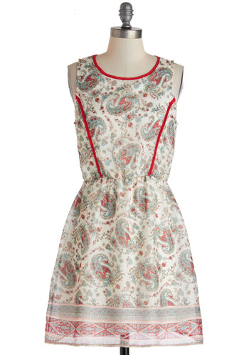 Raving About Paisley Dress - Short, Multi, Trim, A-line, Sleeveless, Scoop, Red, Paisley, Casual, Daytime Party, Boho, Vintage Inspired, 60s, 70s, Multi