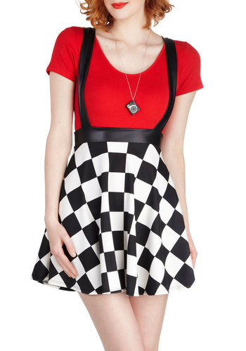 Check It, Mate Skirt - Long, Black, White, Checkered / Gingham, Party, Vintage Inspired, 80s, A-line, Mini