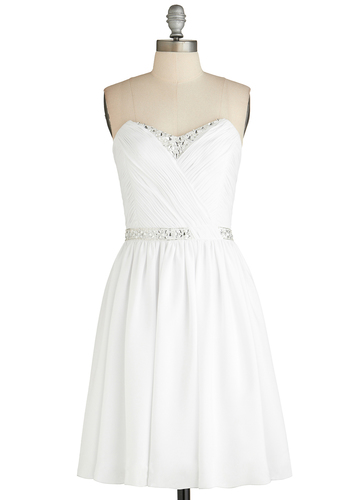 Ice Sculptress Dress - Short, White, Solid, Rhinestones, Wedding, Cocktail, Bride, A-line, Strapless, Sweetheart, Ruching, Prom, Exclusives