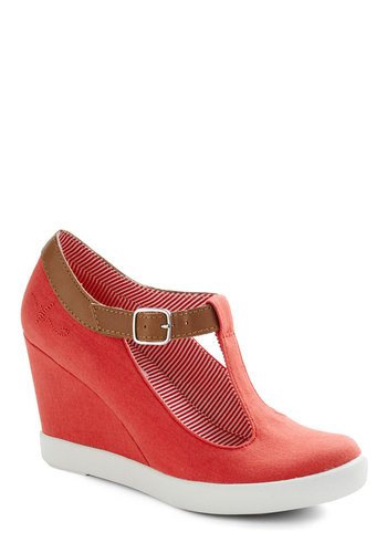 Montauk of the Town Wedge in Nautical Red by BC Footwear - Red, Tan / Cream, Solid, Cutout, Nautical, Wedge, Mid, Casual, Spring, Summer