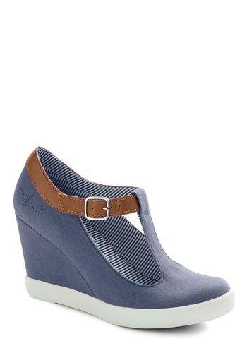 Montauk of the Town Wedge in Ocean by BC Shoes - Blue, Tan / Cream, Solid, Cutout, Nautical, Wedge, Mid, Denim, Casual, Spring, Summer, Variation