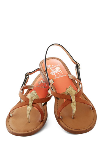 Road Navigator Sandal in City - Tan, Black, Gold, Solid, Colorblocking, Flat, Strappy, Variation, Faux Leather, Casual, Beach/Resort, Summer