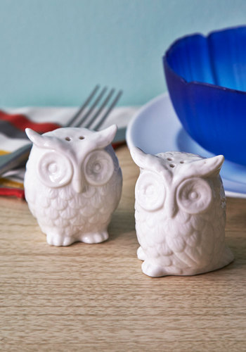 Hoots Hungry? Shaker Set - White, Owls, Daytime Party, Top Rated