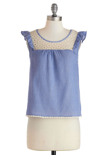 Prairie Much So Top - Blue, Solid, Crochet, Ruffles, Trim, Sleeveless, Mid-length, Cotton, Tan / Cream, Casual, Boho, Vintage Inspired, 60s, 70s, Spring, Summer, Scoop