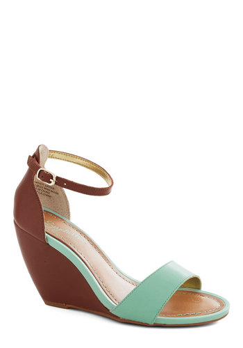 Thyme Wedge by Seychelles - Solid, Pastel, Wedge, High, Leather, Brown, Mint, Party, Daytime Party