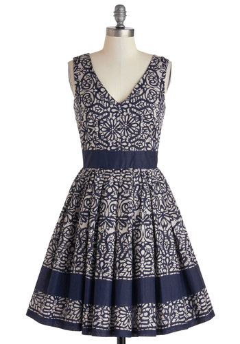 Calligraphy of the Styled Dress - Mid-length, Blue, White, Party, Fit & Flare, V Neck, Print, Cutout, Exposed zipper, Wedding, Cotton