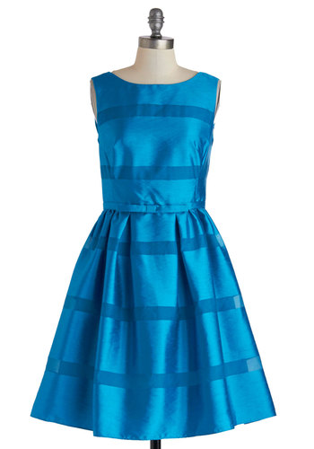 Dinner Party Darling Dress in Azure - Mid-length, Blue, Solid, Bows, Buttons, Prom, Cocktail, Fit & Flare, Sleeveless, Boat, Bridesmaid, Wedding, Variation