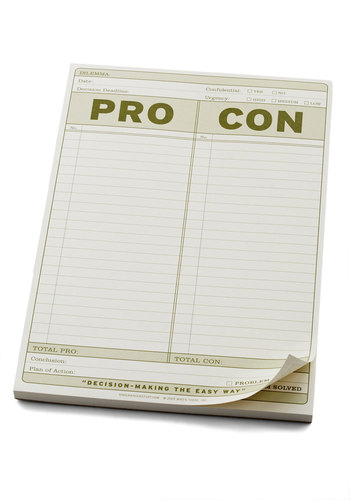 Pro & Con Notepad by Knock Knock - Cream, Green, Work, Good