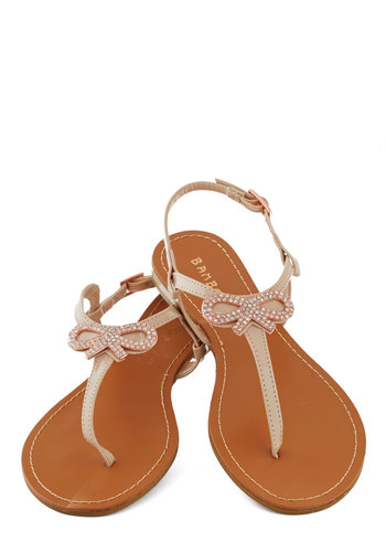 Glam Girl Next Door Sandal - Tan, Bows, Rhinestones, Luxe, Summer, Flat, Leather, Solid, Daytime Party, Fairytale