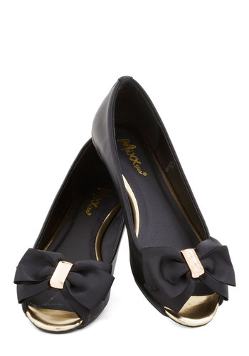 Anniversary Party Flat - Flat, Black, Bows, Luxe, Peep Toe, Gold, Solid, Party, Work, Daytime Party, Faux Leather