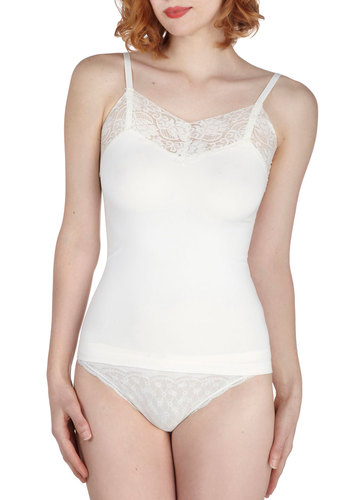 Ladylike Your Look Camisole in Ivory - Cream, Solid, Lace, Trim, Seamless, Spaghetti Straps, Sheer, Variation
