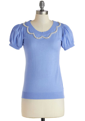 Maine Event Top - Mid-length, Blue, Solid, Pearls, Short Sleeves, Work, Vintage Inspired, 40s, 50s, Spring, Summer, Exclusives