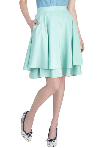 Big Waves Skirt - Mid-length, Mint, Solid, Tiered, Daytime Party, Pastel, Ballerina / Tutu, Green, Top Rated