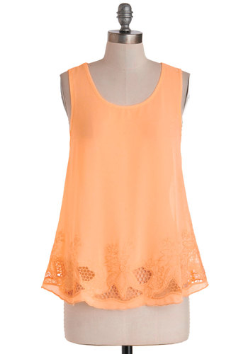 Outdoor Theater Top - Sheer, Orange, Solid, Cutout, Embroidery, Sleeveless, Casual, Daytime Party, Tent / Trapeze, Summer, Scoop, Mid-length, Chiffon