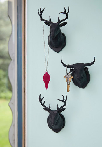 Horn Is Where the Heart Is Wall Hooks - Black, Solid, Rustic, Good, Folk Art, Holiday
