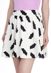 Bats All, Folks! Skirt - White, Casual, A-line, Short, Print with Animals, Novelty Print, Quirky, Halloween, White