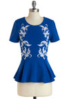 Gliding on Style Top - Blue, Embroidery, Peplum, Short Sleeves, Mid-length, White, Floral, Work, Blue, Short Sleeve
