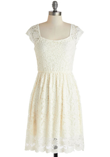 Gossamer Vacation Dress - Mid-length, Cream, Solid, Lace, Party, A-line, Cap Sleeves, Fairytale, Graduation, Summer, Wedding, Bride