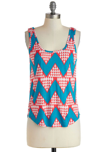 Bold New Insights Top - Multi, Red, Blue, White, Casual, Tank top (2 thick straps), Summer, Mid-length