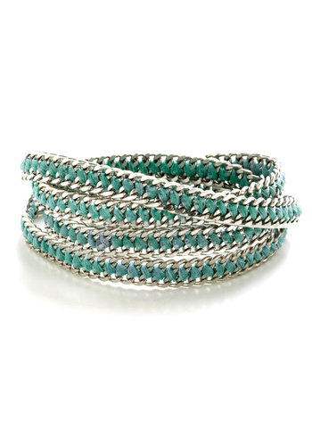 Chain Is in the Air Bracelet - Mint, Silver, Solid, Braided, Boho, Silver